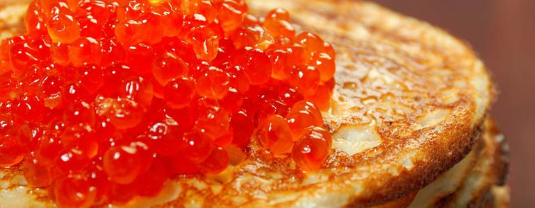 RUSSIAN PANCAKES WITH RED CAVIAR image