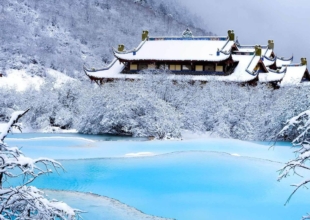 TRADITIONAL CHINESE TEMPLE IN WINTER image