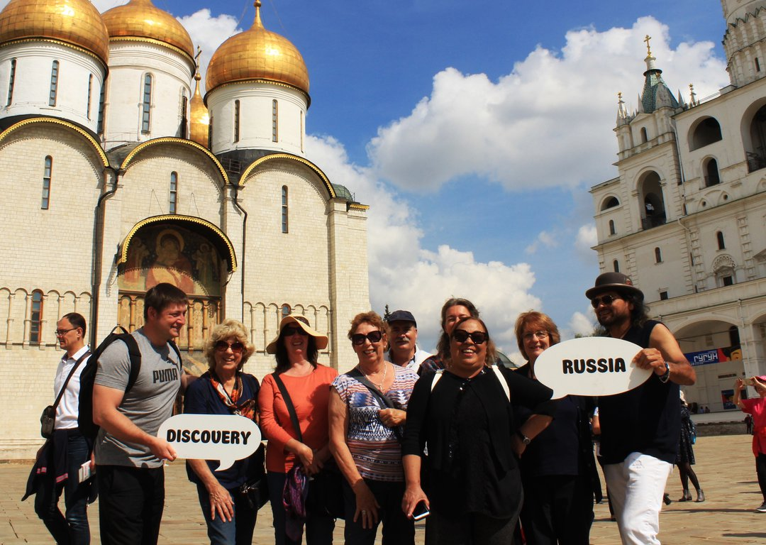OUR TOURISTS NEAR ASSUMPTION CATHEDRAL, YAROSLAVL image