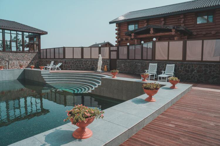 Pool  with natural mineral hot springs image