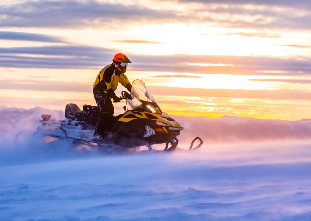 Snowmobiles are just a means of transport here image